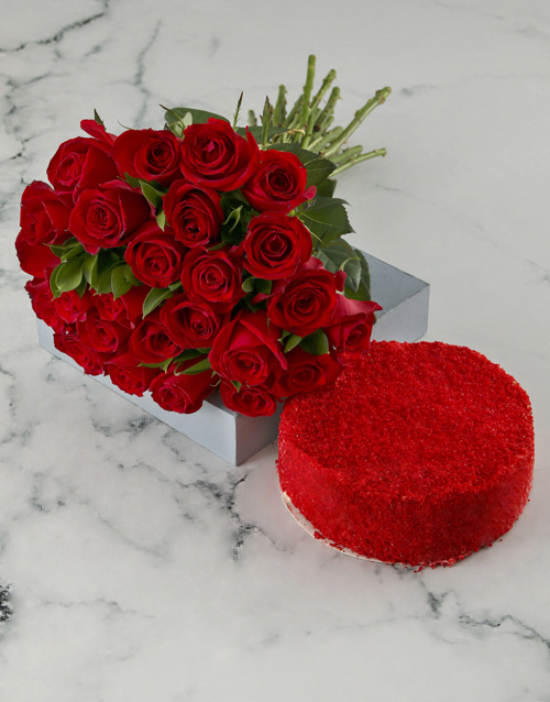 roses Double Red Cake And Rose Combo